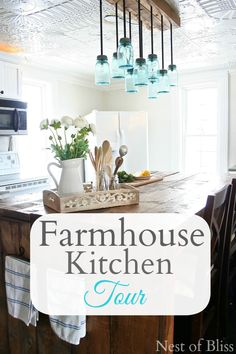 Farmhouse Kitchen Tour - Before and After #Diy Budget #Kitchen Transformation - LOVE the canning jar lights!