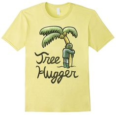 "Two pop culture staples collide in this hippie Frankenstein shirt. This hand-drawn print is inspired by a poignant moment in ""The (short-lived) Adventures of Frankenkind"" comic series. This tee features Frankenkind hugging a palm tree with the cursive text ""Tree Hugger"" below him. Tshirt uses vibrant, earthtone colors and painterly textures to convey a warm and comforting design. This shirt is available in men's, women's and kids sizes in various colors. https://www.amazon.com/dp/B01N3XXXQ7"