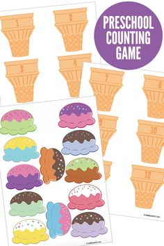 A fun, free printable preschool counting game that invites preschoolers to count and match ice cream scoops to numbered cones. - Kids education and learning acts Numbers Preschool, Preschool Printables, Preschool Learning, Learning Skills, Early Learning, Life Skills, Abc Printable, Learning Shapes, Counting Activities
