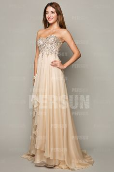 Sexy Sweetheart A Line Chiffon Champagne Sequins Prom Dresses