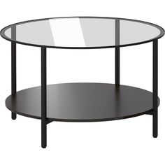 IKEA VITTSJÖ Coffee table, black-brown, glass (14.010 HUF) via Polyvore featuring home, furniture, tables, accent tables, coffee table, ikea, black glass shelves, glass shelving, black accent table and black shelves