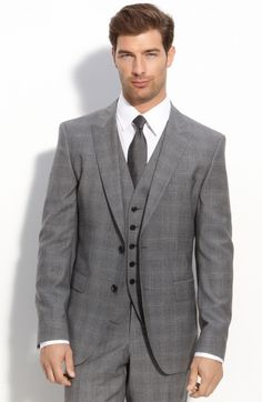 Men's Designer Three-Piece Suits | ... Sharp Grey Plaid Three Piece Suit in Gray for Men (medium grey) - Lyst