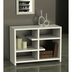 Northfield Floating 4-Shelf Console Bookcase.  $115.  (L x W x H):	 38.0 x 15.5 x 28.0