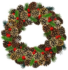 Transparent Christmas Pinecone Wreath PNG Clipart