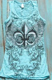 angel wing flur de lis tank top with rhinestones | Elusive Cowgirl