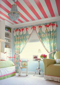 Striped ceiling, curtains, chandelier - Wow!