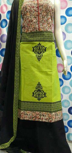 Top cotton handloom with kalmkari yolk, bottom cotton, Chiffon dupatta