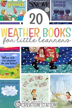 Teachers, teaching our little learners about about the weather is such an important unit to go through. There are so many fun ways to explore this unit.  Watch little minds be amazed as they learn about clouds, sun, rain, storms, and so much more! It's so fun to watch them read through books related to the weather unit, too. And, they get to see all the types of weather! 20 Weather Books for Little Learners - Mrs. Jones' Creation Station