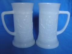 Pair of Milk Glass Mugs by YuletidePast on Etsy