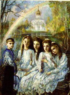 Painting of the children of Emperor Nicholas II Alexandrovich Romanov (Nikolai…