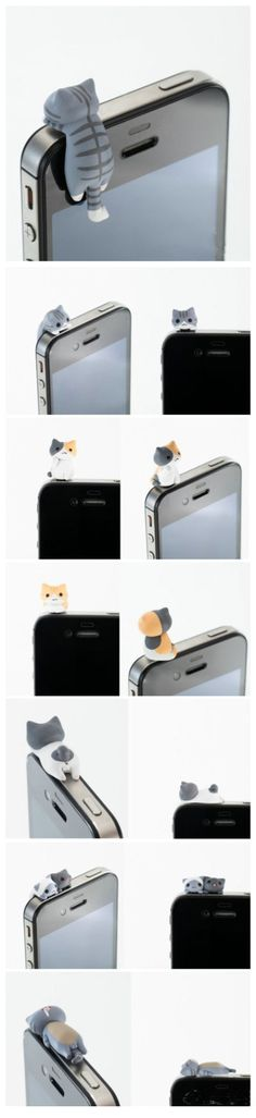 OMG- Kittens in your iPhone are both decorative and a headphone port dust cover - such a cute little kitty cat!