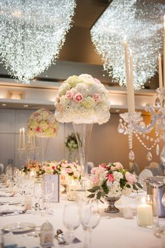 Carton House Wedding Reception Decor with floral decoration and chandeliers on tables Floral Wedding Decorations, Wedding Centerpieces, Table Decorations, Wedding Ideas, Spring Wedding, Dream Wedding, Classic Style, Bloom, Chandeliers