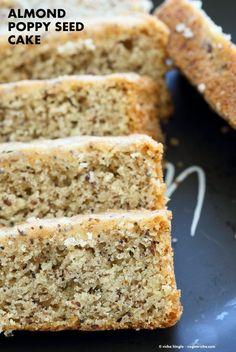 Vegan Almond Poppy Seed Cake. Gluten free Cake. Spongy Moist Cake with no Gum. Use as Sponge Cake without poppy seeds. Vegan Gluten-free Oil-free Recipe. | http://VeganRicha.com