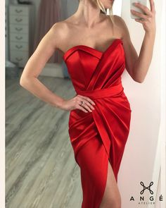 Rochie Rosie Lunga Sirena Crapatura Corset Tafta Model Bal Banchet Nasa Comanda Online Ange Atelier Nasa, Formal Dresses, Red, Design, Fashion, Moda, Formal Gowns, Fasion, Rouge