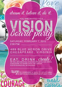 20 Awesome Vision Board Party Invitation Template Collection - Although online technology has develop into the favourite method of communication and Planners, Web 2.0, Creating A Vision Board, Party Invitations, Invitation Ideas, Invitation Templates, Invitation Cards, Invites, Party Planning
