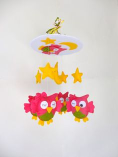 """Free shipping - Baby Crib Mobile - Baby Mobile - Nursery Crib Mobile - Custom colors Bright Pink green and yellow Owl Mobile """"Sleeping Owls""""..."""
