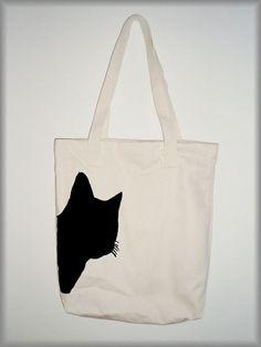 Cat print - canvas tote bag