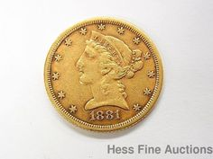 1881 $5 Five Dollar Half Eagle Liberty Head Gold Coin US Currency