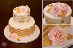 Pink and gold baby shower cake.
