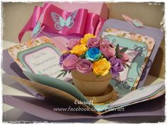 Flowerpot explosion card. Perfect for mother's day. Orders your customised explosion card now at www.ericraft.com.au