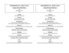 memorial services program template