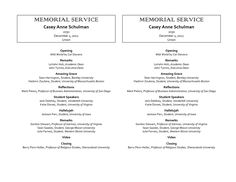 Funeral Program Template Sample With Detailed Order Of Service