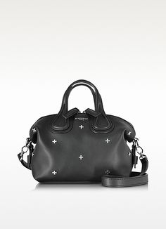 GIVENCHY Nightingale Micro Black Leather Satchel Bag W/Metal Cross. #givenchy #bags #shoulder bags #hand bags #leather #satchel #lining #
