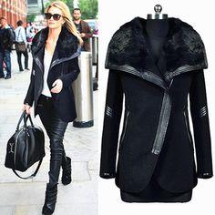 New 2015 winter black turn down fur collar wool coat women's leather patchwork Zipper wool jacket outerwear trench DF14W011