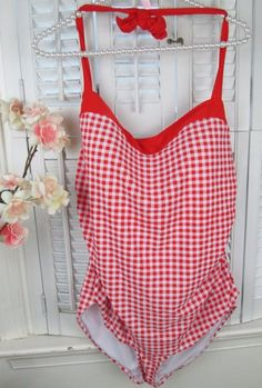 f7a69f488bb Basic Editions Red White Plaid Checked Halter Swimdress Swimsuit Plus Size  20 #BasicEditions #Swimdress