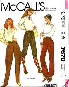 Sewing Patterns Girls, Mccalls Patterns, Vintage Patterns, Jodhpur, Knickers Pants, Golf Knickers, Tweed Ride, Loose Fitting Tops, Pants Pattern