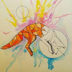 Jump Through the Moon - Sureal Fox Illustration #polygonart