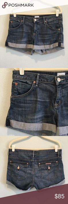 Hudson Hampton Cuffed Jean Short Excellent condition. No damage. Size 31. Inseam 2 1/2 inches. 64% tencel, 34% cotton, 2% elastic. Hudson Jeans Shorts Jean Shorts