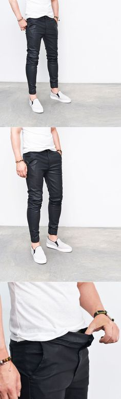 Bottoms :: Pants :: Coated Faux Leather Slim Jogger-Pants 193 - Mens Fashion Clothing For An Attractive Guy Look