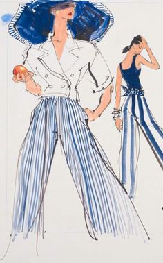 Fashion illustration by Kenneth Paul Block (1925–2009), 1988, design by Patricia Pastor and Ralph Lauren, Fairchild Publications.