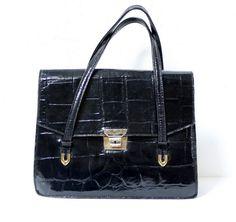 "Sac vintage noir cuir ""croco"" www.lamerelipopette.com"