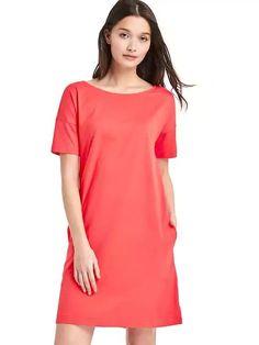 Boat neck dress orange coral red dress Cotton Modal