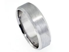Men's Wedding Band with Faceted Mirror Edge
