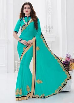 Fantastic Moss Chiffon Blue #Casual Wear #Saree