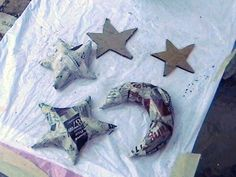 How to make a papier mache model. Paper Mache Moons And Stars - Step 1