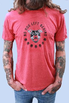 ALLSIZES Men's Unisex RED t shirt No dog left by VonStreichergoods, $22.00