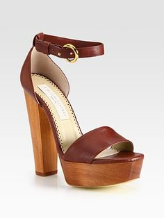 Stella McCartney Faux Leather and Wooden Platform Sandals