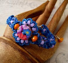 Bright+Flowers+Macrame+Bracelet+with+Floral+by+KnotJustMacrame
