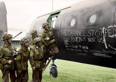 A colorized photo of airborne soldiers with a Horsa glider. Some very brave men.