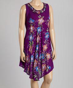 Another great find on #zulily! Purple & Blue Floral Scoop Neck Dress - Plus #zulilyfinds