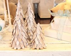 DIY cardboard Christmas tree on re-nest