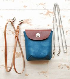Hip Bag Blue Leather and Brown Leather Belt Purse by TheModMobile