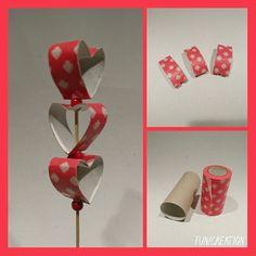 Zápich do květináče t roliček od toaletního papíru #toiletpaperroll #toiletpaperrollcrafts #creation #valentyn #valentinesday #rolicky #handcraft #recyklujeme #toiletpaper #heart
