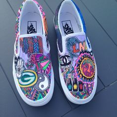 Request a specific design on any kind of sneakers. Custom Slip On Vans, Custom Vans Shoes, Custom Painted Shoes, Custom Sneakers, Sharpie Shoes, Vans Shoes Fashion, Vans Shoes Women, White Canvas Shoes, Creative Shoes