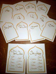 Cartes de plan de tables et marque table  thème oriental or et blanc by SCGraphisme.com