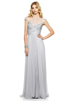 THEIA Illusion Neck Beaded Pleat Gown in another colorrrrr